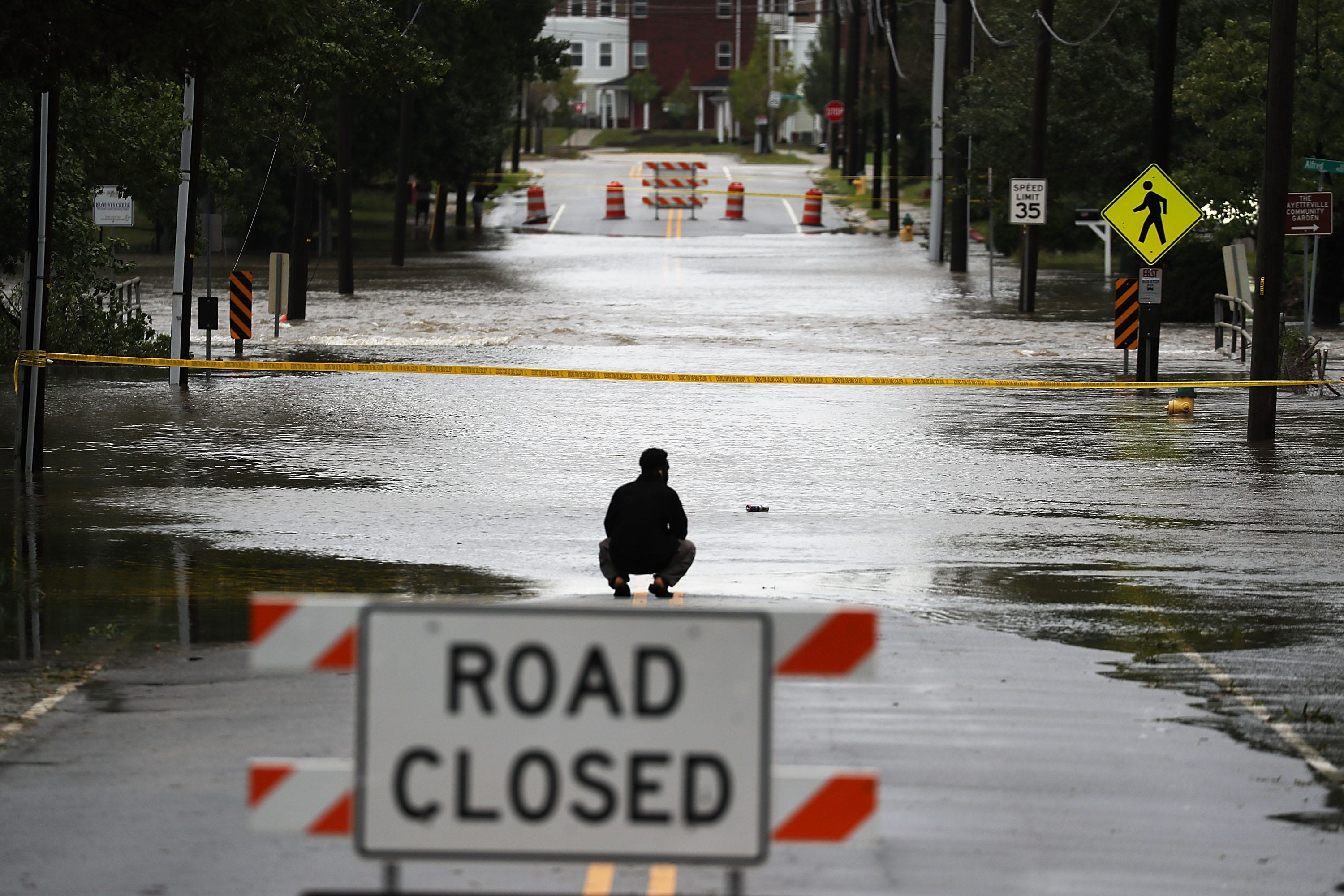 A washed out road in in Fayetteville, N.C.