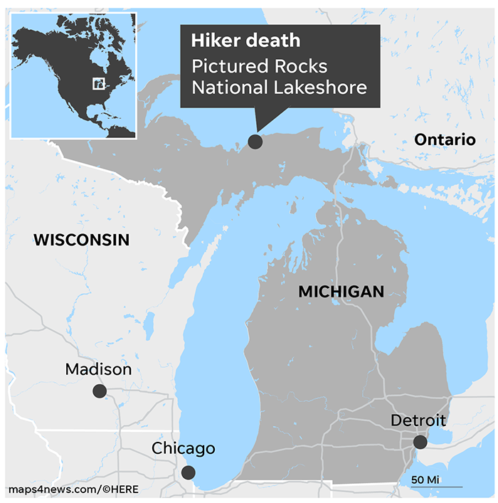 Pictured Rocks Michigan Map.Woman Falls To Her Death Taking Selfies On Hiking Trail Wgrz Com
