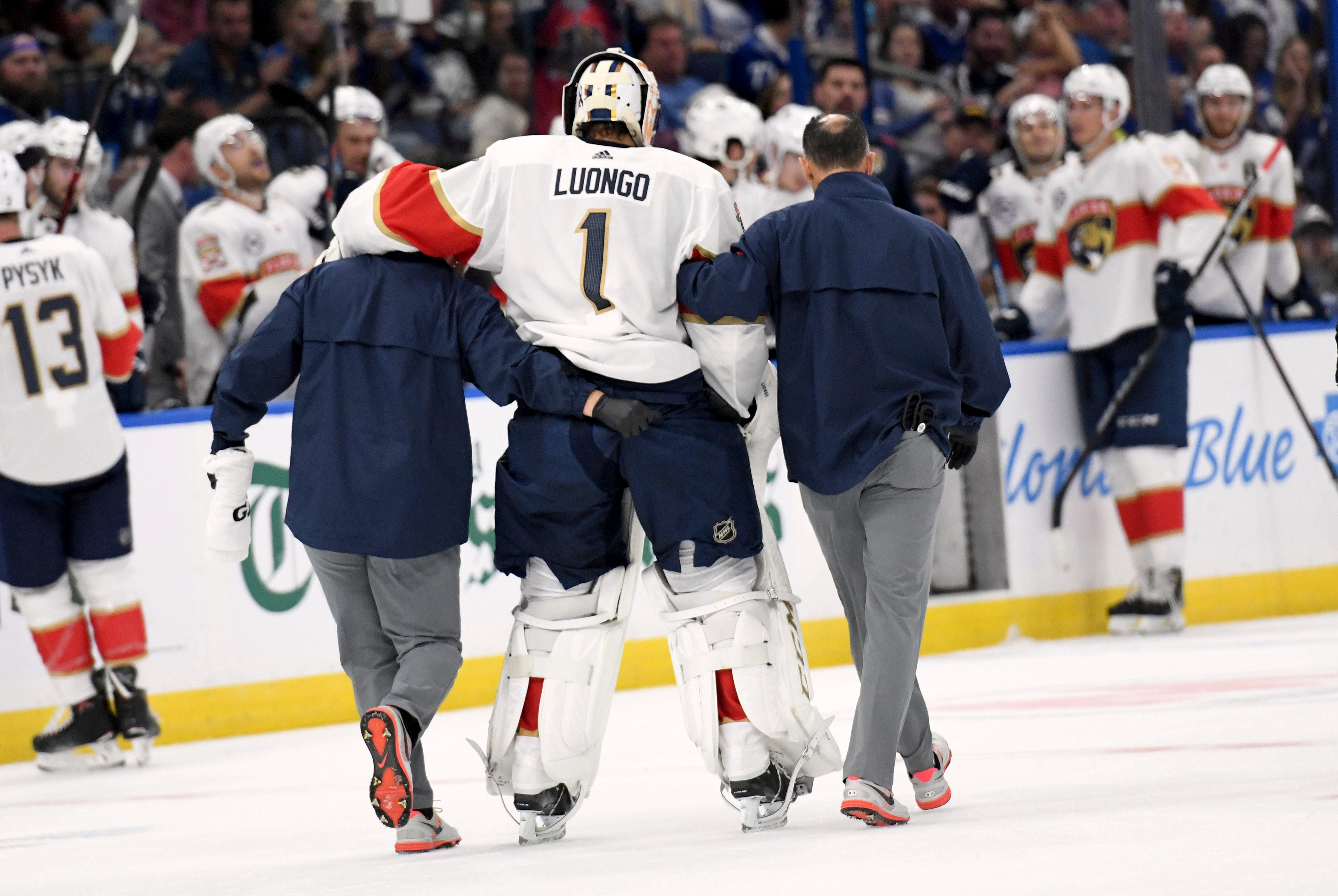 Roberto Luongo helped off ice during Panthers' opener