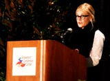 Maureen McCormick, who played Marcia on the Brady Bunch, speaks at the CADA Annual Dinner.