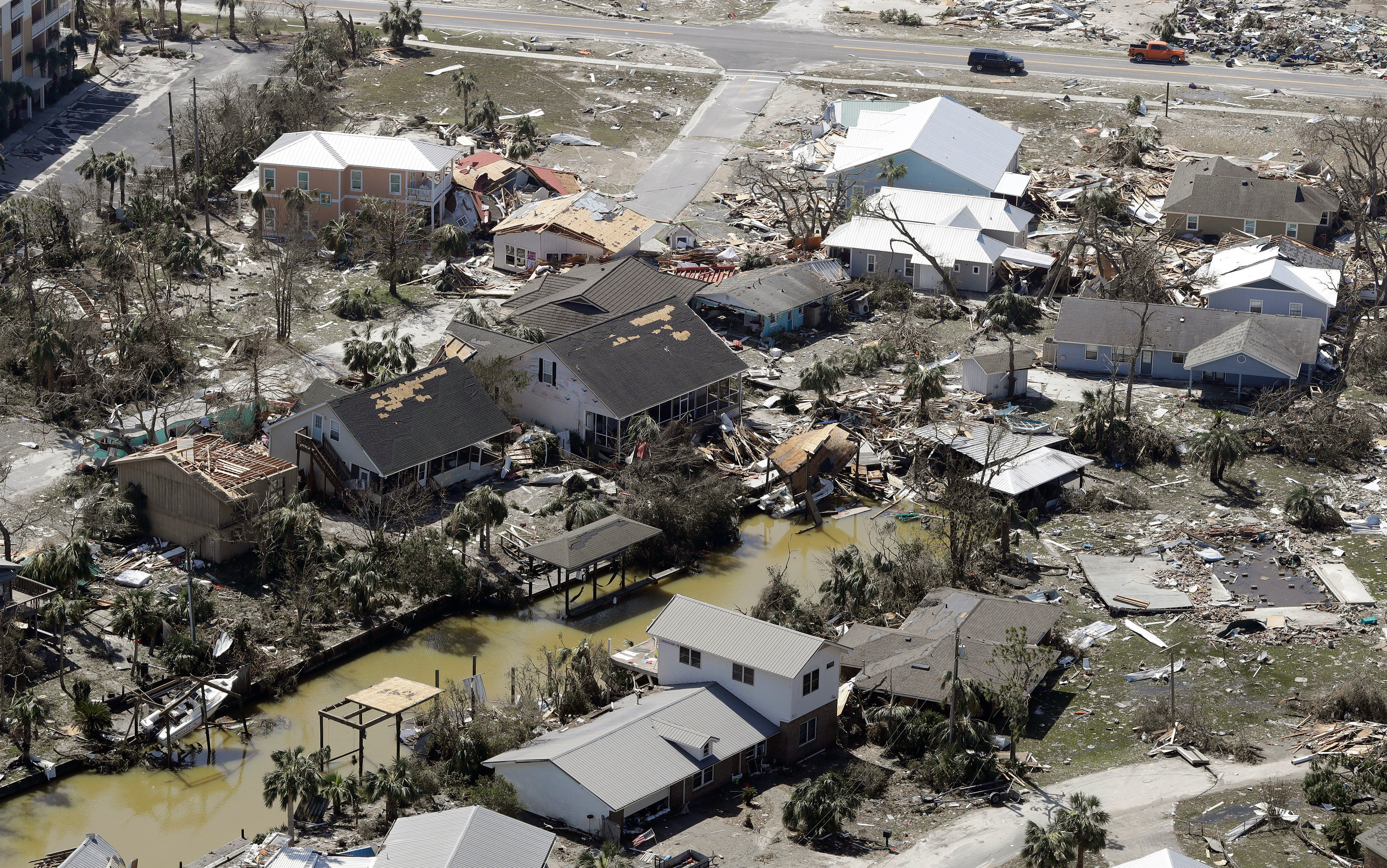 MEXICO BEACH, FL - OCTOBER 11: Debris from homes destroyed by Hurricane Michael litters the ground on October 11, 2018, in Mexico Beach, Florida. The hurricane hit the panhandle area with category 4 winds causing major damage. (Photo by Chris O'Meara-Pool/Getty Images) ORG XMIT: 775241167 ORIG FILE ID: 1051907864