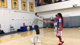 The world famous Harlem Globetrotters dropped by Warriors practice to teach Steph Curry and Quinn Cook three-man weaves and 4-point shots.
