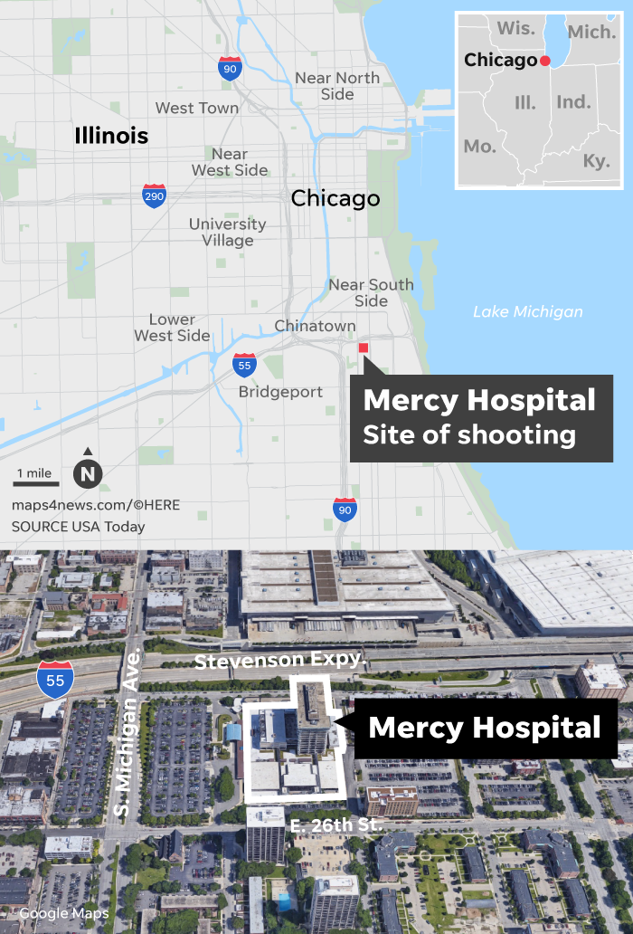 Chicago hospital shooting: Police officer, gunman, 2 others dead on chicago snow map, chicago murders, chicago police shooting, chicago homicide victims, chicago homicides april 2013, chicago gang map, chicago bike map, chicago neighborhood map, chicago city map, chicago gang neighborhoods, chicago road map, chicago police homicide, chicago death map, chicago homicide map 2012, chicago police map, chicago school map, chicago food map, chicago breaking weather, chicago violence map, chicago shooting today,