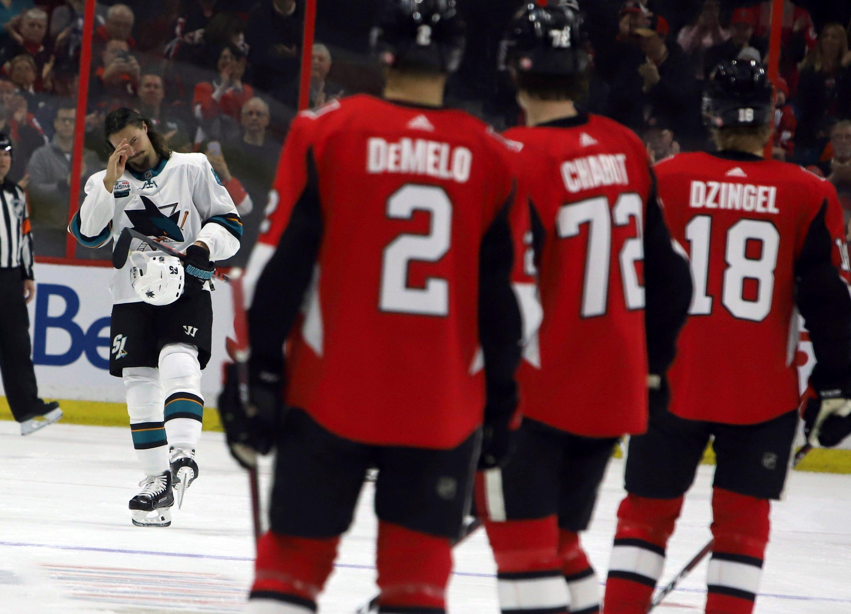 Senators beat Sharks 6-2 in Karlsson's return to Ottawa