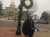 The Lansing City Pulse, an alt. weekly newspaper, gave away free joins outside Lansing City Hall, across from the state Capitol, on Dec. 6, 2018.