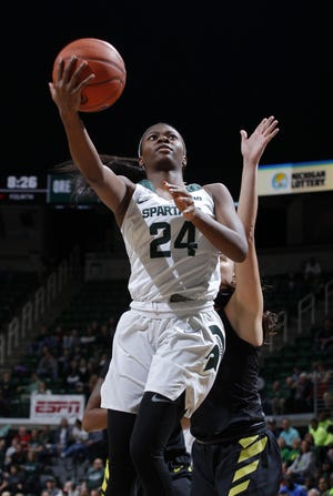 Nia Clouden had a game-high 17 points in Michigan State's 78-65 victory over Penn State on Saturday in East Lansing.