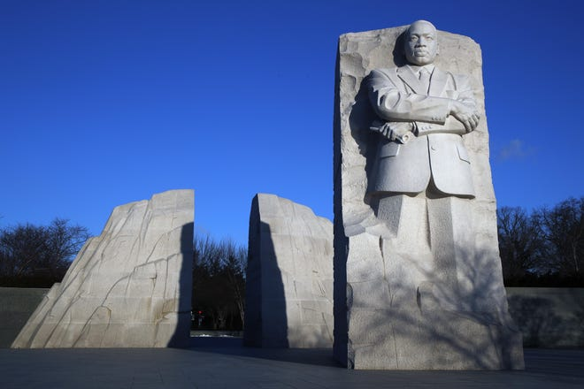 The Martin Luther King, Jr. Memorial on MLK Day, Monday, Jan. 21, 2019, in Washington. (AP Photo/Jacquelyn Martin)