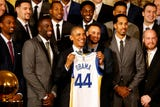 The Warriors made time to visit with the former president while they were in town to play the Wizards.