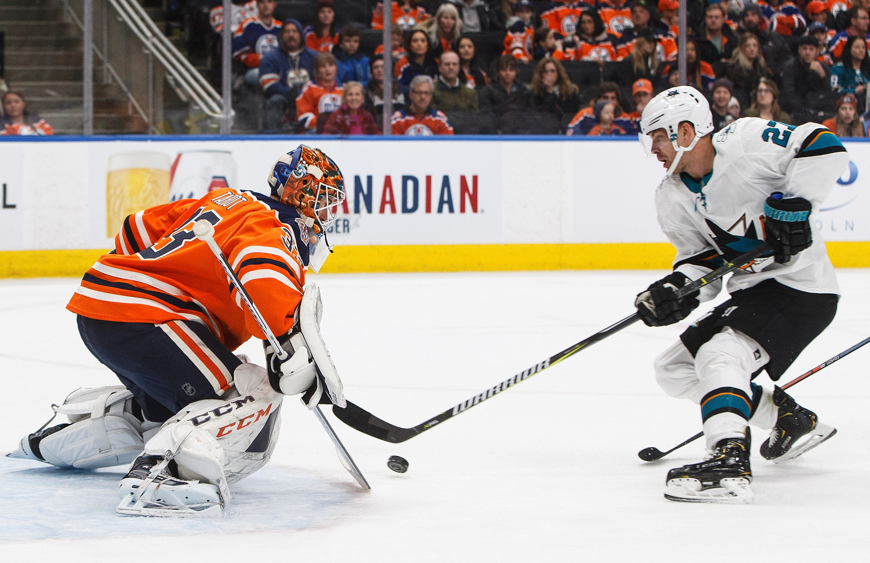 Labanc's hat trick leads Sharks past Oilers, 5-2