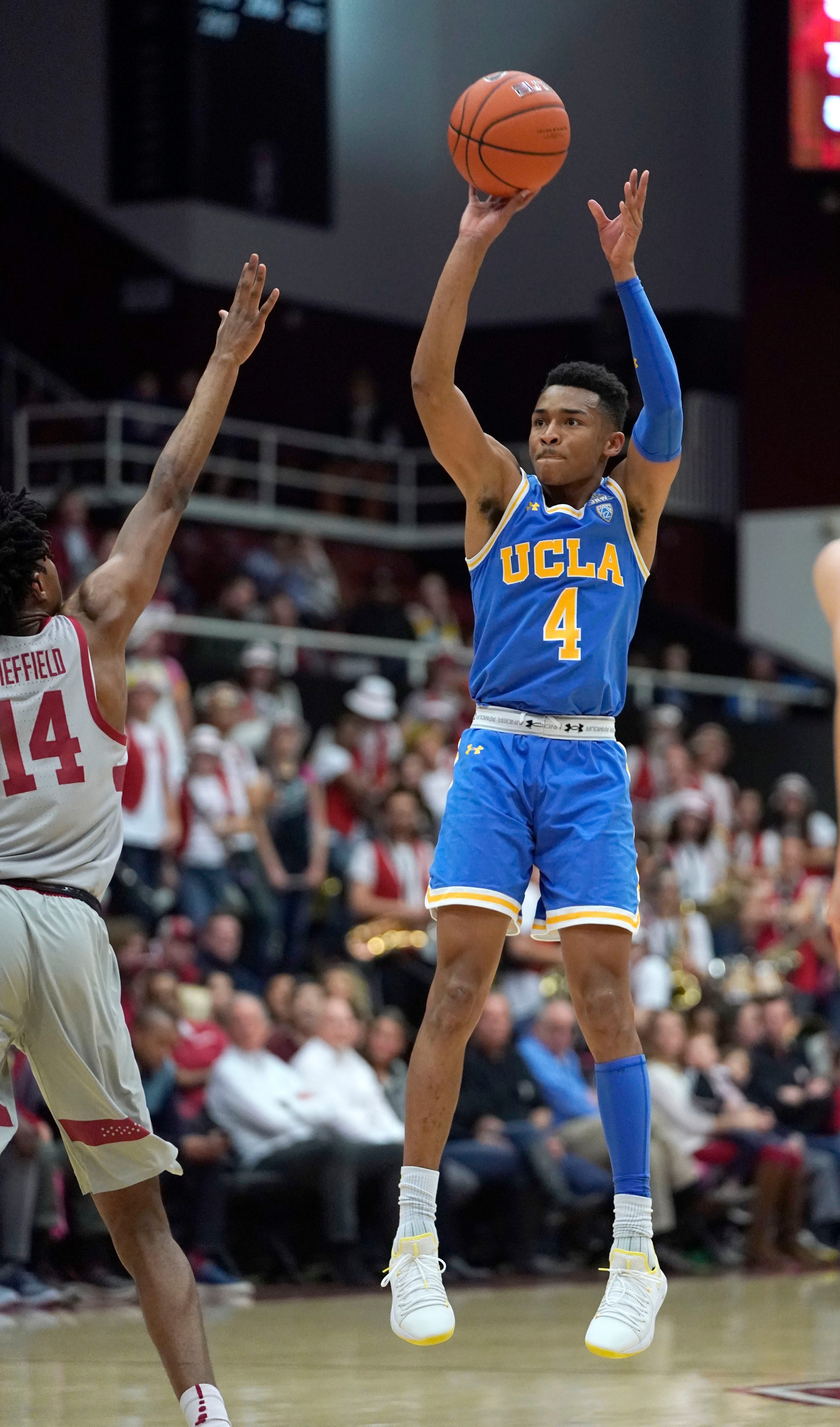 Sharma's double-double helps Stanford beat UCLA 104-80