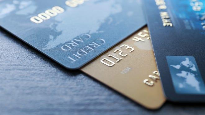 Credit cards being displayed.