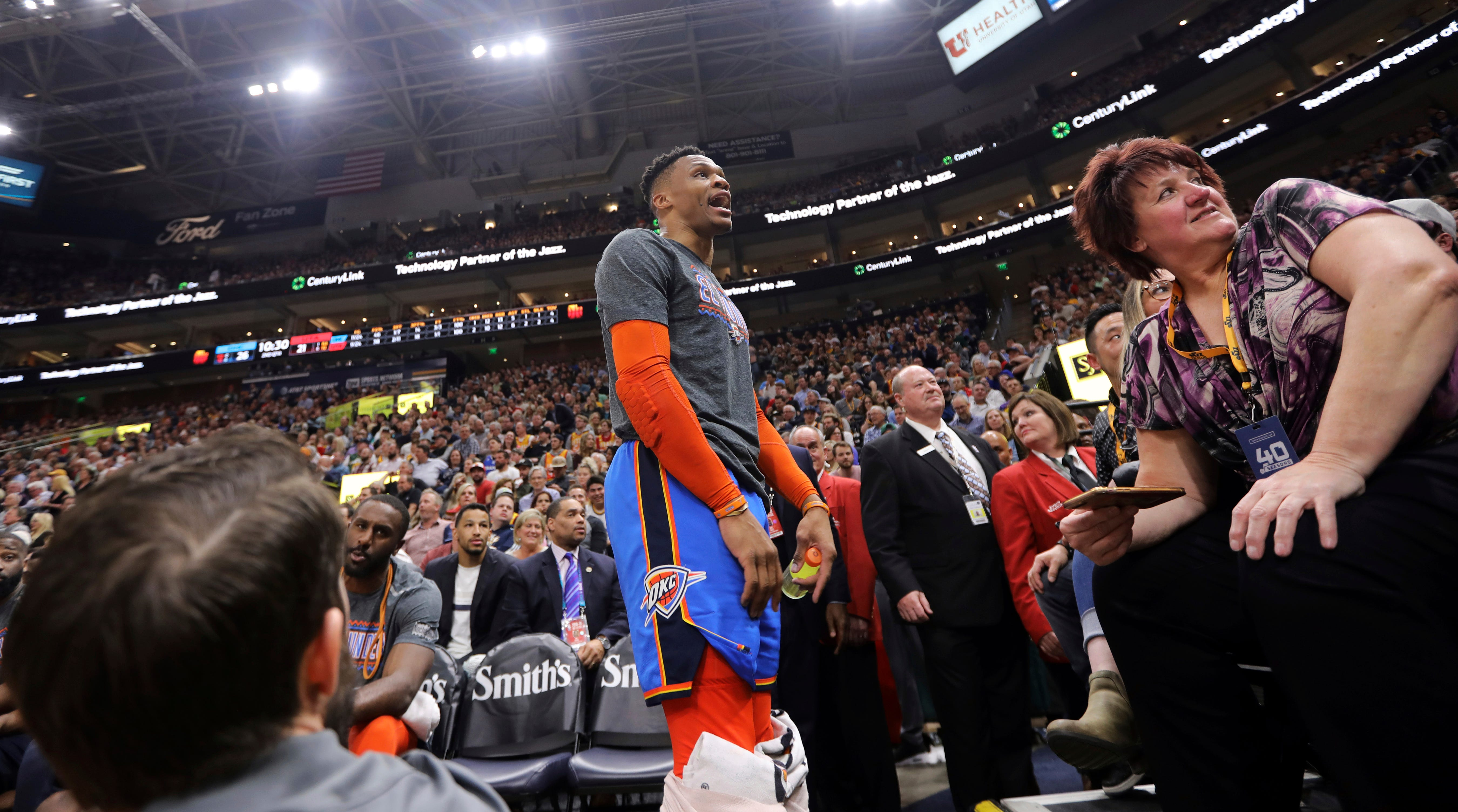 f5d95bbbe6a7 Russell Westbrook fined for threatening Jazz fan