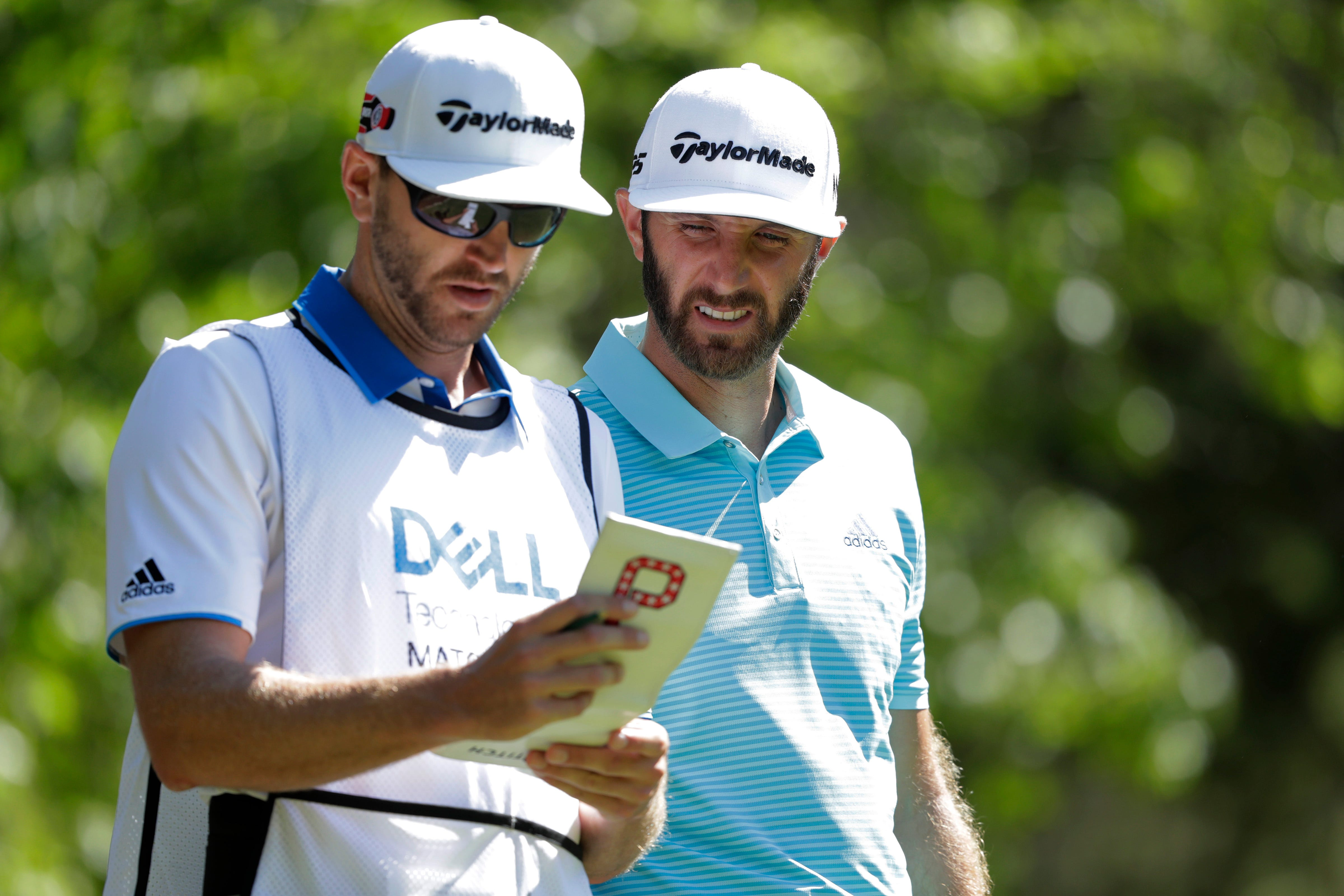 This time, stairs trip up Dustin Johnson's brother and caddie, Austin