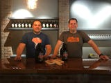 Jan Chwiedosiuk and Brian Teel (left to right) explain how they came up with the name Jersey Cyclone Brewing.