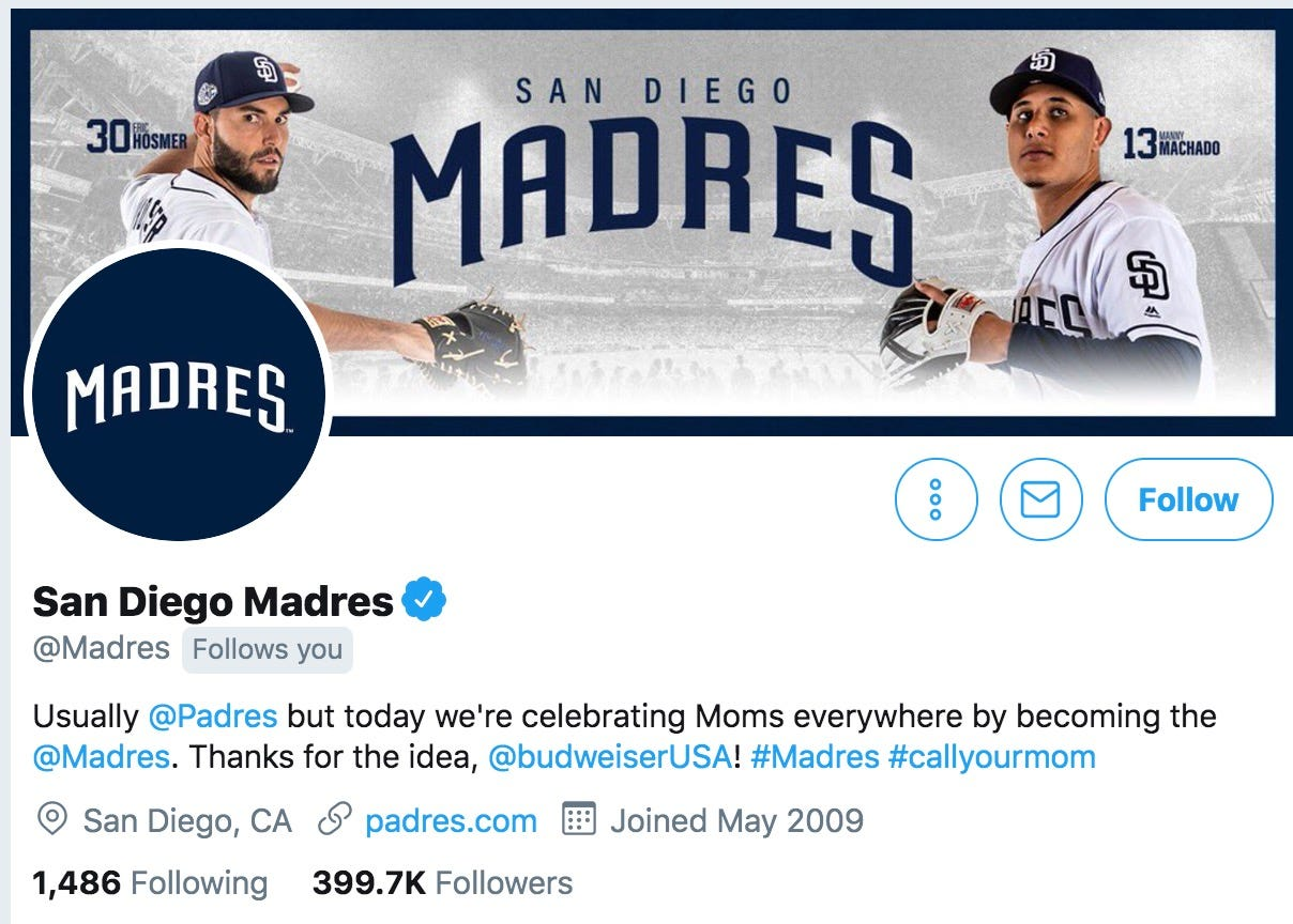 Padres temporarily lost Twitter handle after changing it to 'Madres' for Mother's Day