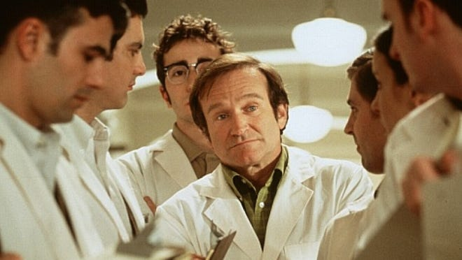 "Robin Williams stars in ""Patch Adams."""