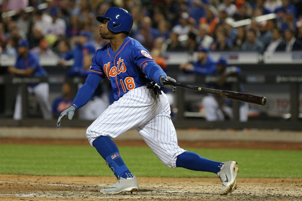 Mets OF Rajai Davis got to game in 3rd inning, got lost inside stadium, and hit a homer