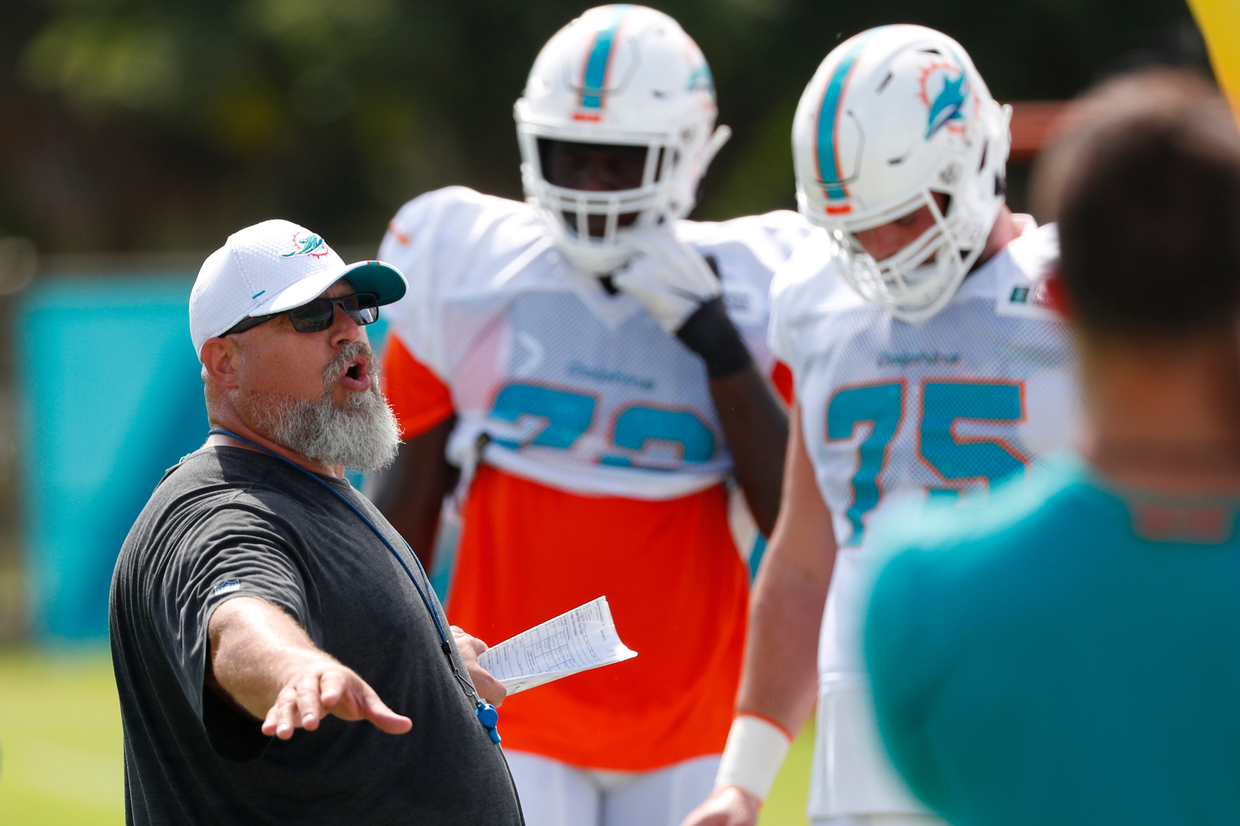 In 3rd stint with Dolphins, OL coach deals with another mess
