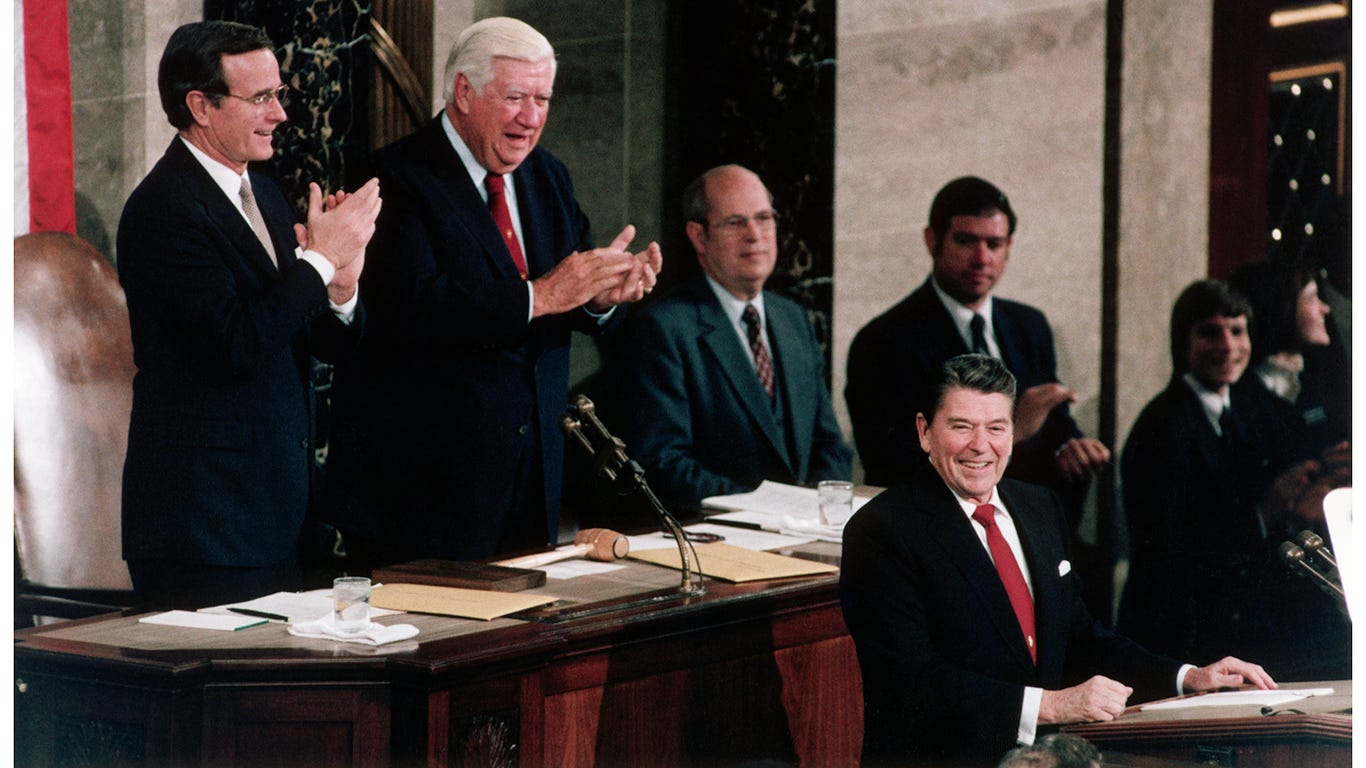 President Ronald Reagan at the 1984 State of the Union address.