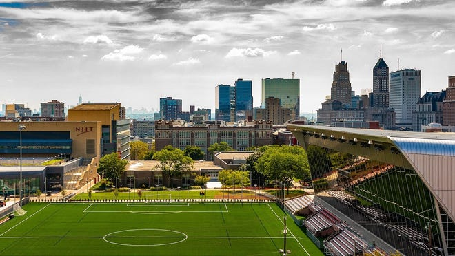 View of athletic fields at NJIT in Newark, New Jersey.