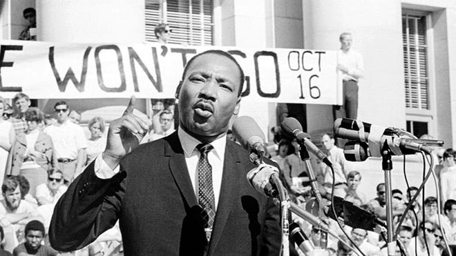 """The Rev. Martin Luther King Jr. began to link opposition to the Vietnam War with the civil rights movement in 1967. He publicly denounced America's involvement in the war at rallies and protests. His first public speech against the war, titled """"Beyond Vietnam,"""" was made at Riverside Church in Harlem on April 4, 1967."""