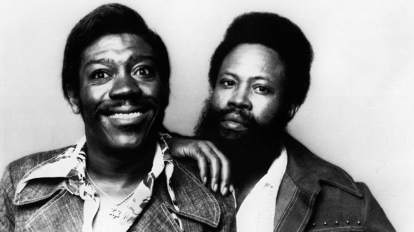"""21. Sam and Dave   • Biggest hit:  Soul Man   • Total songs on Hot 100:  13 The soul duo and Stax Records staple released a string of hits throughout the 1960s, including the No. 2 single """"Soul Man."""" Sam Moore and Dave Prater would later receive renewed interest thanks to their influence on John Belushi and Dan Aykroyd's Blues Brothers act. Sam and Dave were inducted into the Rock and Roll Hall of Fame in 1992."""