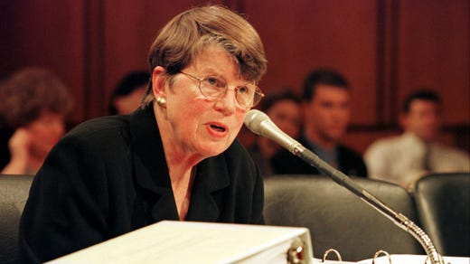 <strong>43. Janet Reno&nbsp; &nbsp; &nbsp;</strong><br /> Occupation: Former Attorney General<br /> Janet Reno was the first woman attorney general of the U.S. She was nominated to the position by President Bill Clinton and was not afraid to challenge the White House on a number of issues. Before that, Reno served five terms as state attorney for Dade County, Florida, even though she was a Democrat in a largely Republican area. She was a Girl Scout in Miami, where she grew up.&nbsp;