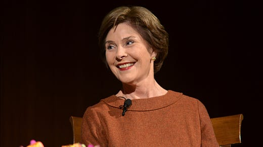 <strong>30. Laura Bush&nbsp; </strong>&nbsp; &nbsp;<br /> Occupation: Former First Lady of the U.S.<br /> Texas native Laura Bush was first lady when her husband, George W. Bush, was president of the United States from 2001 to 2009. She began her career as a teacher and has campaigned for education, literacy and women's issues. She also created the Laura Bush Foundation for America's Libraries, which provides financial support to needy schools. Bush was honorary National President of the Girl Scouts during her husband's presidency and said of the organization, &quot;Girl Scouts has the perfect approach to reaching girls worldwide. The world is a better place because of Girl Scouts.&quot;