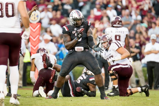 South Carolina defensive lineman Javon Kinlaw celebrates a play  vs. Texas A&M on Oct. 13, 2018.