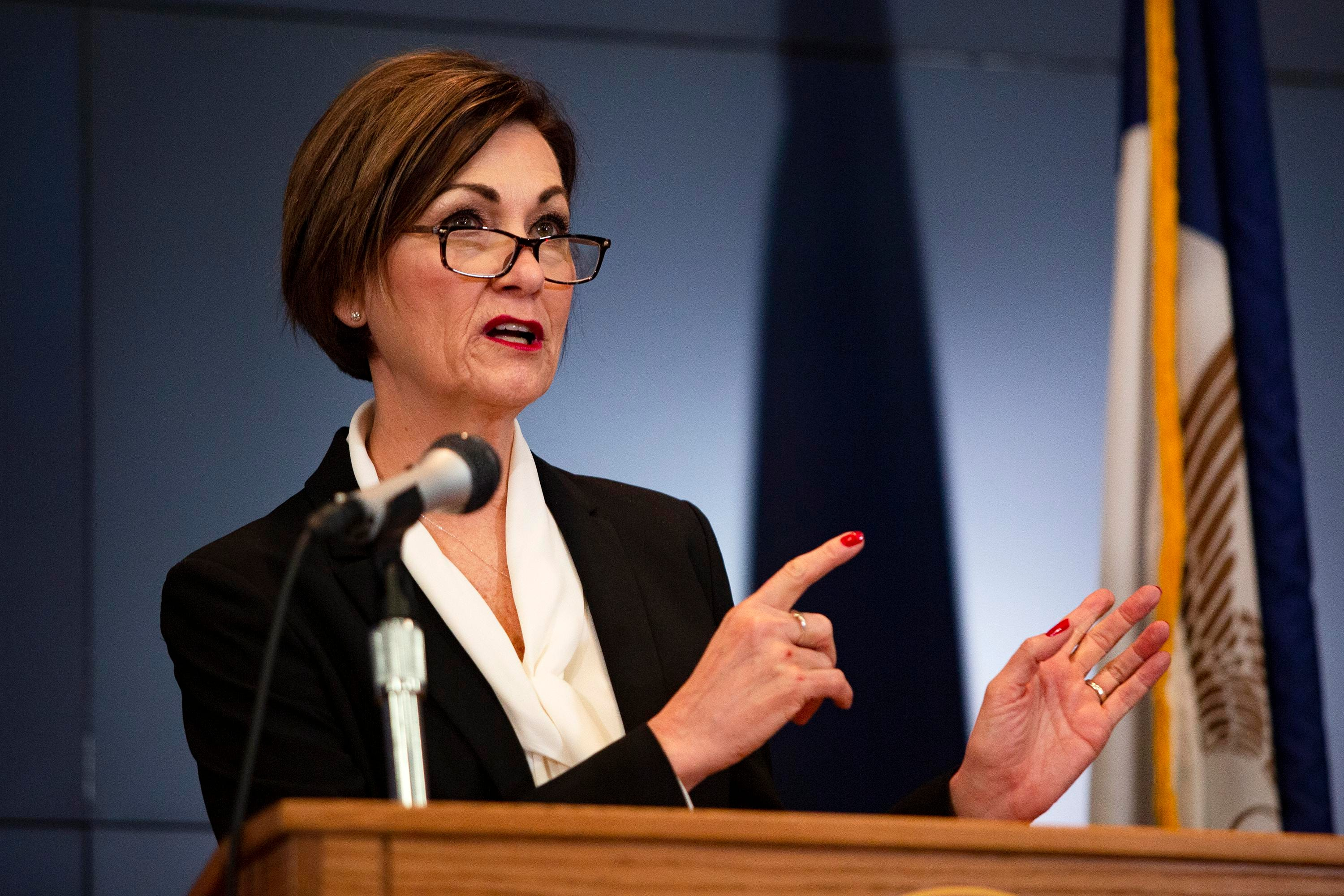 Iowa Gov. Kim Reynolds holds a news conference on COVID-19 at the State Emergency Operations Center in Johnston, Iowa, on Monday.