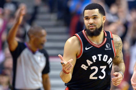 Toronto Raptors guard Fred VanVleet reacts after hitting a 3-pointer during the second half against the Philadelphia 76ers, Jan. 22, 2020 in Toronto.