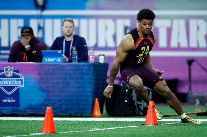 University of Akron defensive lineman Jamal Davis does the three-cone drill during the 2019 NFL Combine at Lucas Oil Stadium in Indianapolis, Ind. (Brian Spurlock/USA TODAY Sports)