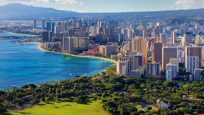 2. Hawaii   • Workforce in high-risk industries:  27.1% of total (2nd highest)   • Unemployment claims since mid-March:  171,708 (25.8% of workforce -- the highest)   • COVID cases as of April 27, 2020:  606 (4.3 per 10,000 people -- 2nd lowest)   • COVID deaths as of April 27, 2020:  14 (0.1 per 10,000 people -- the lowest)   • Projected unemployment rate, July 2020:  17.8% (3rd highest) COVID-19 infections have been relatively uncommon in Hawaii -- the state had the second fewest reported cases per capita of any state as of April 27, at 4.3 per 100,000, compared to the national figure of 29.4 per 10,000.  However, the relatively low number of cases has not stopped the pandemic from decimating the state economy. Since mid-March, over 170,000 Hawaiians have filed for unemployment, equivalent to a nation-worst 25.8% of the state's labor force. Hawaii's economy is especially concentrated in industries like travel and leisure and hospitality, two industries that have been especially hard-hit during the crisis.