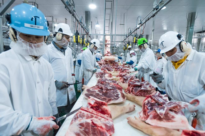 The cutting line in the Triumph Foods pork processing facility in St. Joseph during an April 2017 visit by Agriculture Secretary Sonny Perdue. The facility employs 2,800 workers and more than 600 have tested positive for COVID-19.