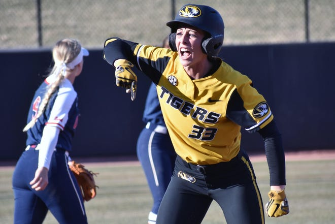 Missouri's Cayla Kessinger (33) celebrates after hitting a triple during a Southeastern Conference game against Mississippi last March at Mizzou Softball Stadium. Before last season was canceled by the coronavirus pandemic, Kessinger started every game for Missouri and led the team with a .429 batting average.