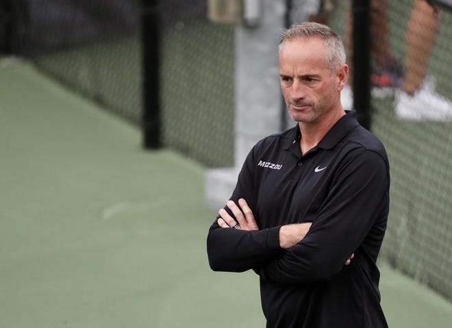 Missouri assistant coach Chris Wootton watches during the Mizzou Invite on Sept. 21, 2019, at the Mizzou Tennis Complex. Wootton was officially named head coach Tuesday after serving as the interim this past season.
