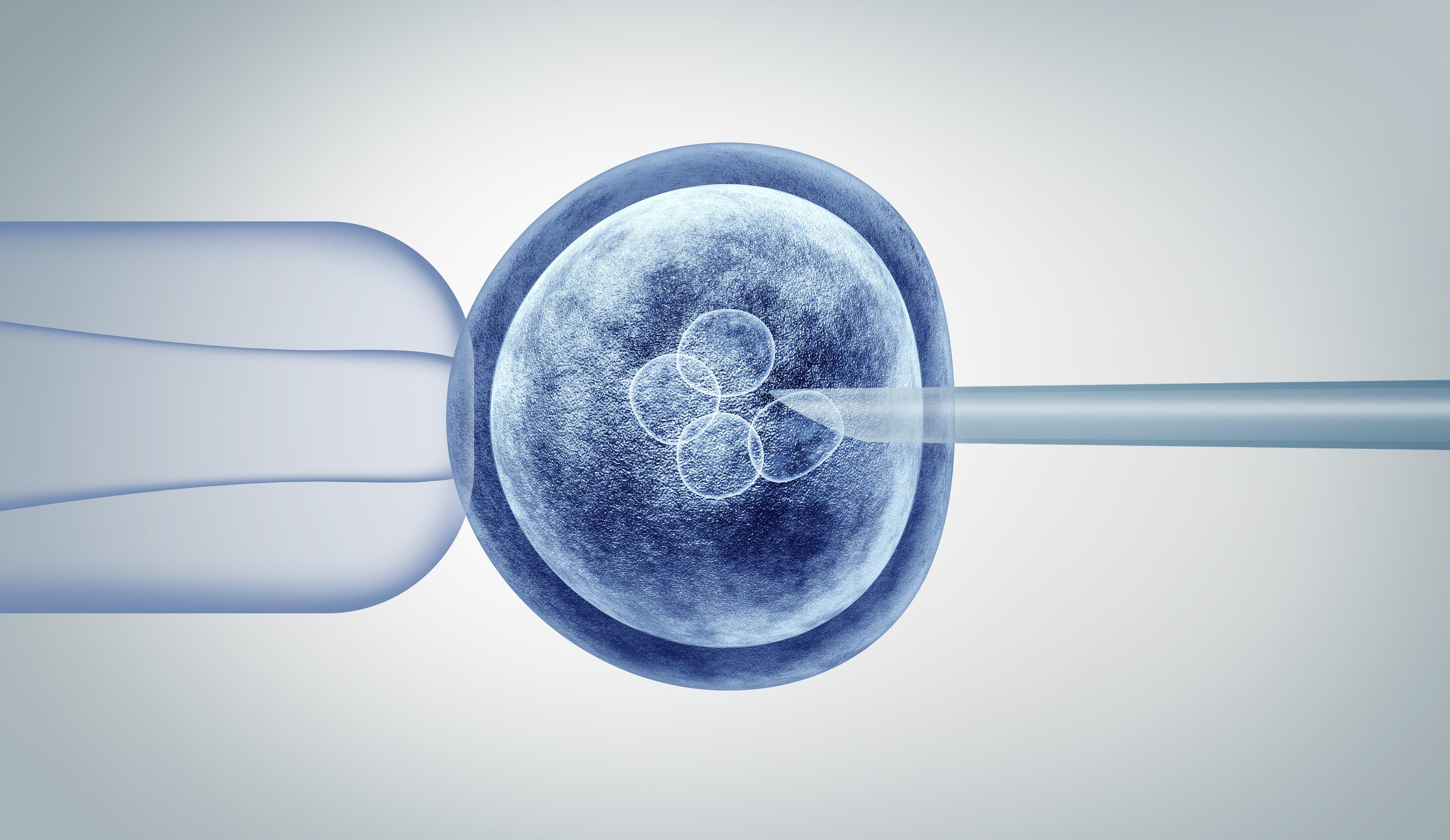 Gene editing a blue stem cell.