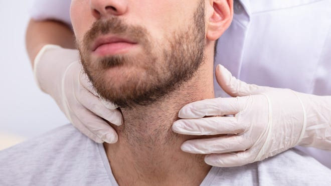 Your thyroid gland sits at the base of your throat and under normal circumstances it produces thyroid hormone that gets distributed throughout your body.