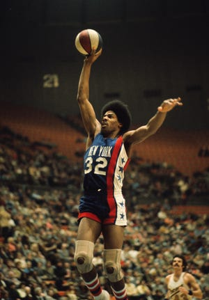 New York Nets forward Julius Erving (32) during an ABA game.