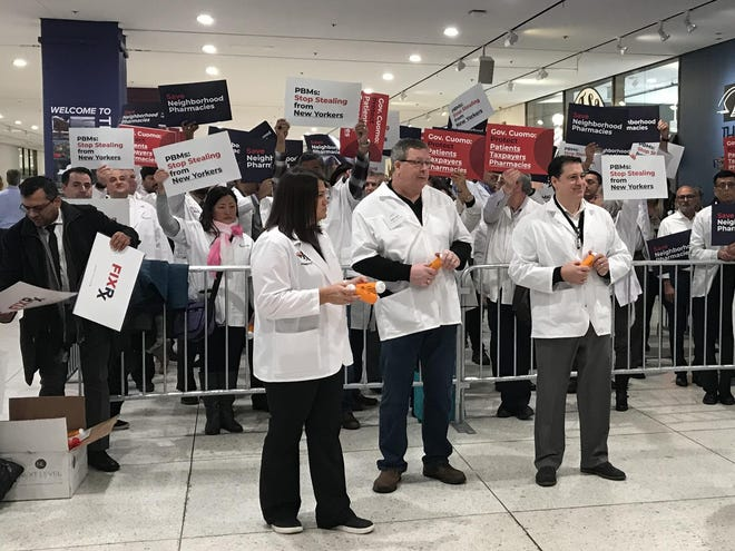 Pharmacists rally on Wednesday before Gov. Andrew Cuomo's State of the State address in Albany.