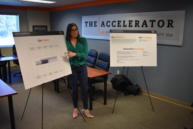 02-24-2020 -Laurie Villasuso, CEO of the Orange County Industrial Development Agency, briefs her staff on Monday at the IDA's New Windsor headquarters about plans for the IDA to open a new artificial intelligence-themed Accelerator incubator this year in Highland Falls.