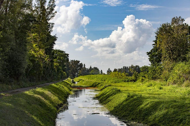 The L-39W canal, in February, runs between Stonebridge Golf and Country Club and the Ag Reserve. County commissioners supported an appeal that would allow Lake Worth Drainage District to sell canal rights-of-way to GL Homes, in turn to be used as preserve parcels to increase density.