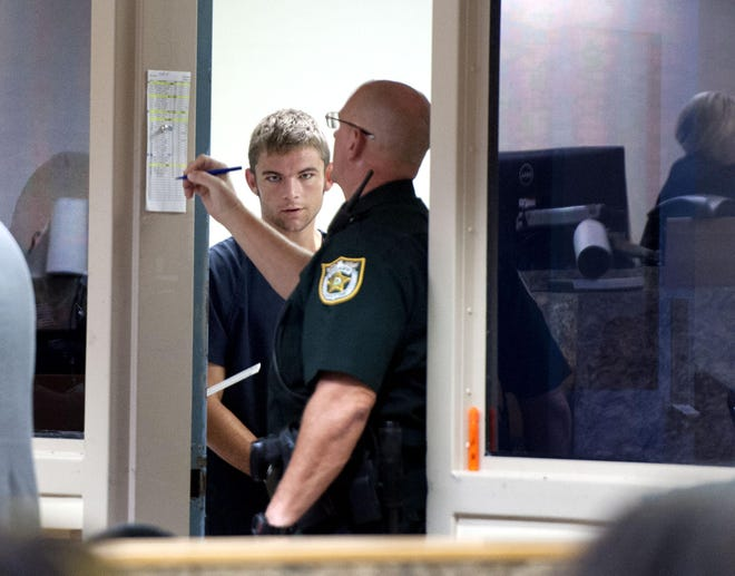 Sean Patrick Durkin arrives at first appearance in front of Judge Sara Willis at the Palm Beach County jail Saturday Aug. 17, 2019, in West Palm Beach.