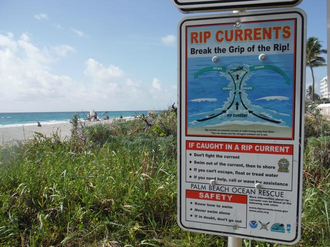 High seas and dangerous rip currents along Palm Beach County are expected this weekend.