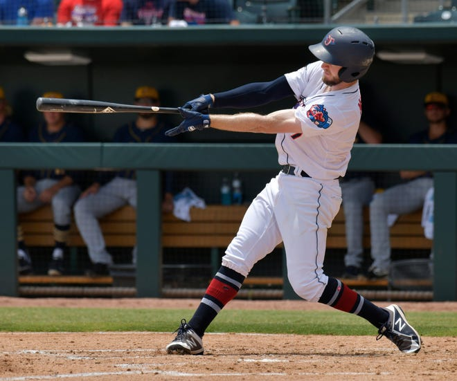Jumbo Shrimp left fielder Brian Miller bats against the Montgomery Biscuits in 2019. Miller is among the returning players for the Jumbo Shrimp's move to Triple-A, which begins Tuesday night.