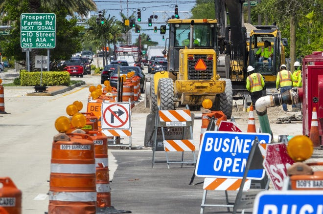 Work continues on a utility project on Northlake Boulevard Tuesday, April 21, 2020.