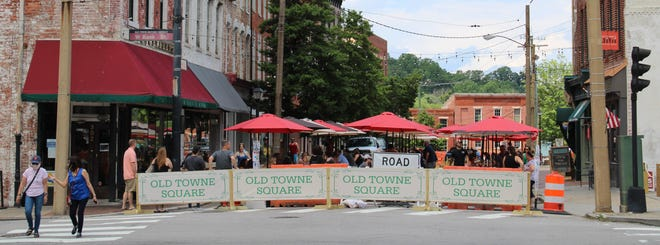 The City of Petersburg and restaurateurs launched the pandemic-friendly Old Towne Square outdoor dining area on Friday, May 29, 2020. The North Sycamore Street section blocked off begins at West Bank Street and stretches down to Bollingbrook Street.
