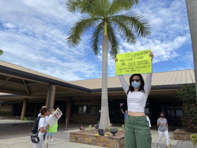 Leah Violet, 17, came with her grandmother Sherry West to urge Manatee County Commissioners to adopt a mask mandate at Wednesday's meeting July 22, 2020.