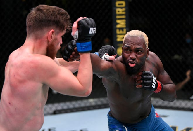 Derek Brunson, right, entered his fight against Edmen Shahbazyan as a heavy underdog but walked out of the Octagon as a winner of three straight UFC bouts.