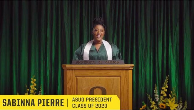 Associated Students of The University of Oregon president Sabinna Pierre gives an inspiring speech as part of University of Oregon's virtual commencement ceremony in 2020.